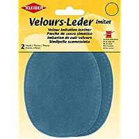 Kleiber - Rodilleras/Coderas ovaladas de Antelina, para coserlas, 12,5 x 10 cm, Color Azul Polvo