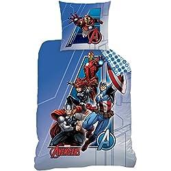 CTI - Funda de edredón 043727 «Avengers Adventure» de 140 x 200 cm. y Funda de Almohada DE 63 x 63 cm. a Juego, Fabricadas en algodón, de Color Azul.