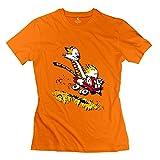 KST Femmes Calvin Hobbes-Cool T-Shirt à Manches Courtes - Orange - M
