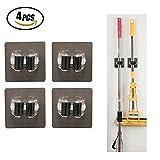 SUNRIZ 4 Stück Mop Besen Halter,Selbstklebend Werkzeughalter Besenhalter Wiederverwendbar Gerätehalter Wandhalterung für Küche Badezimmer Garage -Verbessertes Design