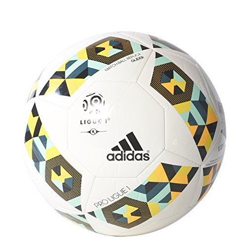 Pro Glider (adidas Pro Ligue 1 Glider Fußball, Top:White/Mystery Green/Easy Green/Solar Gold Bottom:Bright Yellow/Black, 5)