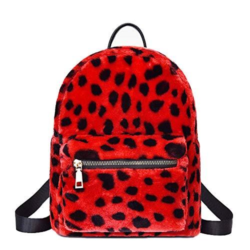 HPADR Mochila Moda Plush Color sólido Mujer Mochila Cremallera Bolsa de Viaje Mochila de Viaje Mochila de Damas Bolso X Estampado de Leopardo Rojo