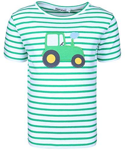 zoolaboo T-Shirt Jungen Traktor Tobi, Gestreift in Weiß/Grün, Größe 74 (Traktor)