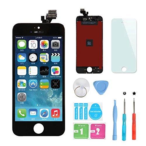 HSX_Z Remplacement Retina écran Tactile Noir Ecran LCD Vitre Tactile pour iPhone 5 avec Kit de Réparation et La Protection d'écran pour iPhone 5-Noir