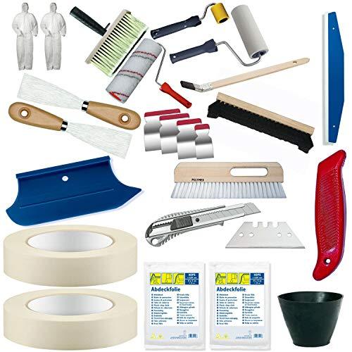Colorus Profi Tapezier Set 22-teilig | Tapezierwerkzeug Set für Vliestapete Renovierungsset | Cuttermesser Andrückroller Tapezierbürste Deckenbürste Kleisterwalze | Malerwerkzeug Malerbedarf