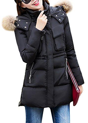 Schwarze winterjacke damen kunstfell