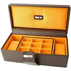 Brown Leather Double Watch & Cufflink Box With Orange Lining