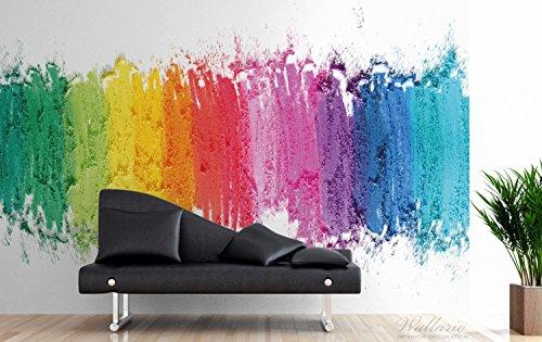 Wallario Premium XXL Vliestapete Regenbogenstreifen auf weißem Hintergrund – Bunter Anstrich – Größe: 400 x 267 cm