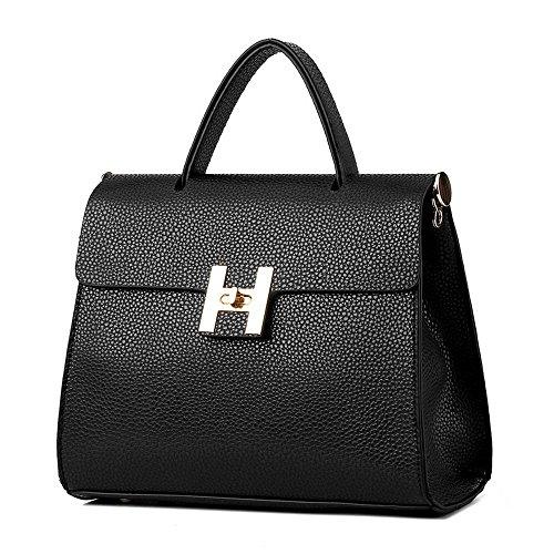 koson-man-stile-vintage-da-donna-con-fibbia-e-tracolla-maniglia-superiore-borsa-tote-bags-nero-nero-