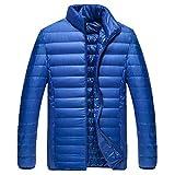 Xmiral Herren Jacke Mantel Winter Pure Color Faltbare Stehkragen Daunenjacke Overcoat (XL,Blau)