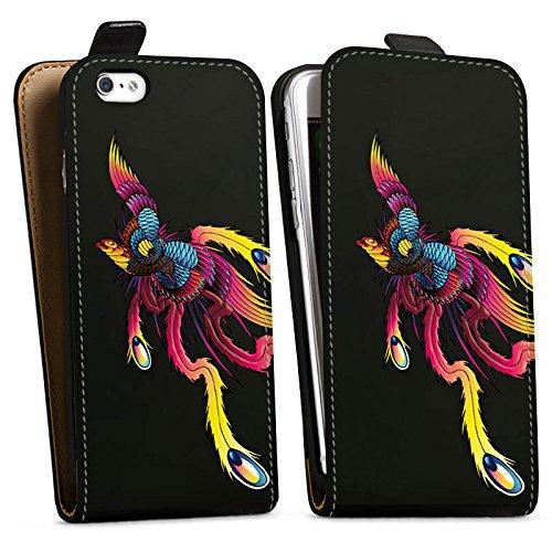 Apple iPhone X Silikon Hülle Case Schutzhülle Phoenix Feder Tattoo Downflip Tasche schwarz