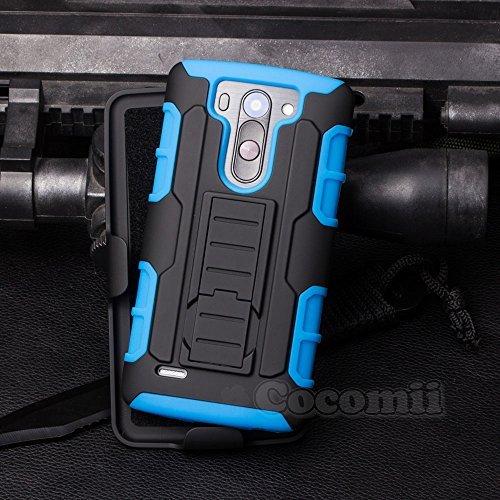 Cocomii Robot Armor LG G3 S/G3 Beat/G3 Vigor Hülle [Strapazierfähig] Gürtelclip Ständer Stoßfest Gehäuse [Militärisch Verteidiger] Ganzkörper Case Schutzhülle for LG G3 S (R.Blue)