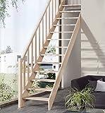 Intercon Raumspartreppe Casablanca Massivholz mit Holzsäulengeländer Buche / Fichte
