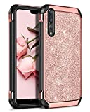 Huawei P20 Pro Hülle, Huawei P20 Pro Glitzer Hülle, BENTOBEN Handyhülle Huawei P20 Pro Schutzhülle stoßfest 2 in 1 Hybrid TPU Cover PC Schale mit Kunstleder Case Hülle für Huawei P20 Pro Smartphone Rosegold