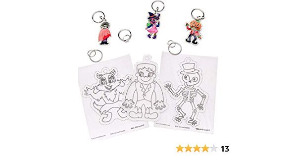 Gifting Pack Of 8 Trick Or Treating Baker Ross AW871 Halloween Super Shrink Keyrings Assorted Party Bags Loot Gifts Great For Arts And Crafts