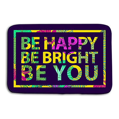 btyi7yos Kitchen Floor Bath Entrance Door Mats Rug Colorful Tropical Quote Square Frame Inspirational Poster Banner Cover Tropical Print Slogan Other Non Slip Bathroom Mats 23.6