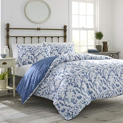 Laura Ashley Elise Bettbezug-Set Landhausstil Twin Mittelblau -