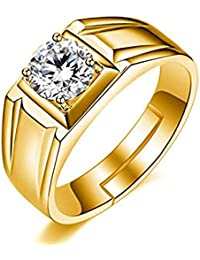 cfed3cee7 Om Jewells Gold Plated Adjustable Finger Ring Made with Cz Stones for Men  White