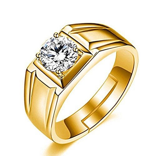 Om Jewells Gold Plated Adjustable Finger Ring Made with Cz Stones for Men White