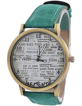 Souarts Damen Grün Segeltuch Gekritzel Jugendliche Armreif Uhr mit Batterie Zifferblatt