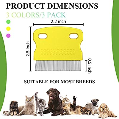 Boao 3 Pieces Tear Stain Remover Combs Set for Dogs Cats Pets Gently Grooming and Removal, Effectively Remove Mucus Crust Lice Flea and Stains from Boao