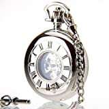 Greenwich Chrome Plated Mechanical Double Half Hunter Engraveable Pocket Watch