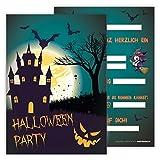12 Lustige Kinder Einladungskarten im Set für Kindergeburtstag / Halloween-Party / Einladung zum Geburtstag für Jungen und Mädchen / 12er Kartenset
