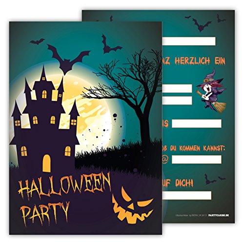 12 Einladungskarten gruselig schaurig Set Kindergeburtstag Party Halloween Party Kinder Erwachsene Geburtstagseinladungen Karten Monster (Kostüm Katze Wilde Regenbogen)