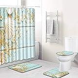 Decdeal 4pcs/Set Conch/Starfish Printed Pattern Water-Resistant Shower Curtain Pedestal Rug Lid Toilet Cover Mat Non-Slip Bath Mat Set Bathroom Supplies