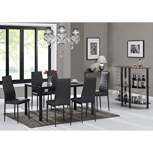 Furniturebox UK Roma Luxury Black Modern Glass Dining Table And 6 Black Montero Chairs Set