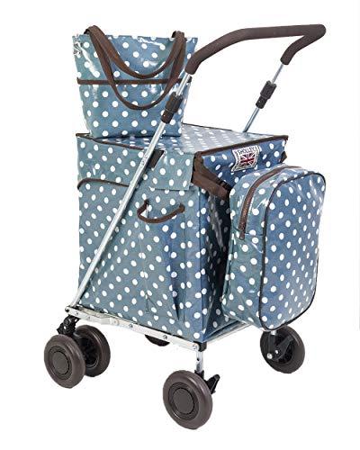 Sholley 'Portobello' Faltbarer Deluxe Einkaufswagen. Robuster zweilagiger Shopper und Mobilitätshilfe zum Gehen, 4, 6 Räder, Handtasche, Kühltasche, kostenloser Innentaschentrenner.
