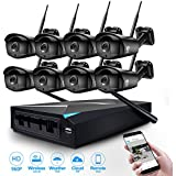 JOOAN 8x 960P WiFi Security Camera CCTV System 8 Channel NVR CCTV Recorder Support Wireless Transmission Email Push, Motion Detection