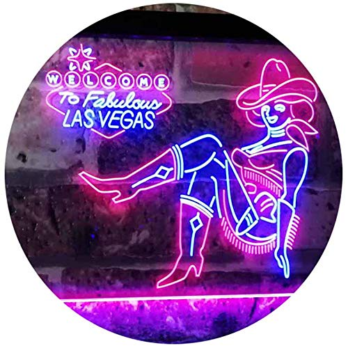 ADVPRO Cowgirl Welcome to Las Vegas Beer Bar Display Dual Color LED Barlicht Neonlicht Lichtwerbung Neon Sign Blue & Red 400mm x 300mm st6s43-i2737-br -