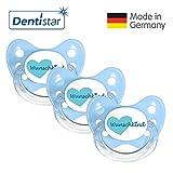 Dentistar® Silikon Schnuller 3er Set - Beruhigungssauger, Nuckel Größe 1 von Geburt an, 0-6 Monate - zahnfreundlich & kiefergerecht | Blau Wunschkind