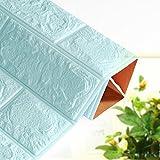 Bovake PE-Schaum 3D-Tapete DIY Wand-Aufkleber-Wand-Dekor prägeartiger Ziegelstein-Stein (Light Blue)
