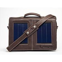 SunnyBAG Business Professional Solartasche mit 3 Watt Solarpanel für 15 Zoll Notebook, Businesstasche, Umhängetasche, Aktentasche, Notebook-Tasche, Laptop-Tasche aus Leder, braun
