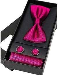 BOLF – Homme Parure Papillon Boutons de Manchette Carre de Poche Cravate Classique Soirée Busines 1L4