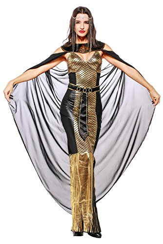 e göttin kostüm, Athene Mythologie Antik Frauenkostüm für Karneval Halloween Fasching Lang Damen M (Göttin Der Weisheit Kostüm)