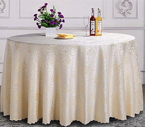 BLUELSS Luxus Elfenbein Muster Polyester runde Tischdecke Rechteckige Tischdecke Wedding Table Cover Restaurant Partei Deaorations, Elfenbein, 120 X 160 - Runde Tischdecke Ivory 120