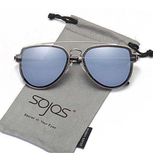 Sojos vogue retrò specchio doppio metalloponte aviatore occhiali da sole unisex per uomo donna sj1051 con argento telaio/grigioblu lente