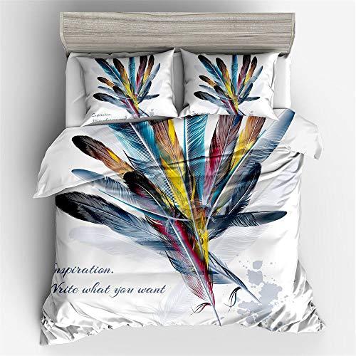 YUNSW Farbe 3D Feder Baumwolle Bettwäsche Set Queen-Size-Bettbezug Set mit Kissenbezug A 200x200cm - Bettbezug Gelb King-set
