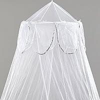 Mosquito Nets 4 U -White singolo letto a baldacchino con argento decorativa (4 Letto A Baldacchino)