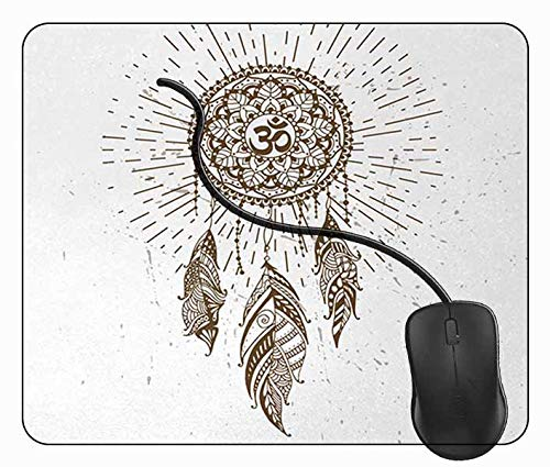 Juzijiang Alfombrilla de Ratón Atrapasueños Mandala Hippie Art, Alfombrilla Gaming, Base de Goma Antideslizante para Gamers, PC Portátil - 24x20cm
