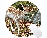 Yanteng Tappetini per Mouse rettangolari Rotondi per Computer Portatili, Natura di Cervo di Ricreazione, Bordi cuciti