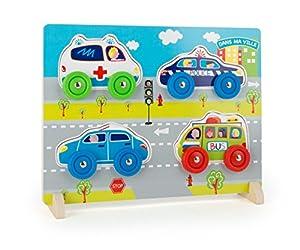 Small Foot 106423D Puzzle de Madera Pintada con Abanico de Coches sobre Ruedas como, de Piezas de Puzzle con ambulancer, Coche de policía, autobús Escolar, práctica función de Soporte