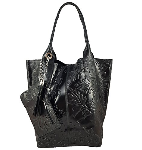 FreyFashion - Made in Italy, Borsa tote donna Nero