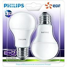 Philips Lot de 2 Ampoules LED Standard Culot E27 (Grosse Vis) 11W Consommés Équivalent 75W Partenariat Philips/EDF
