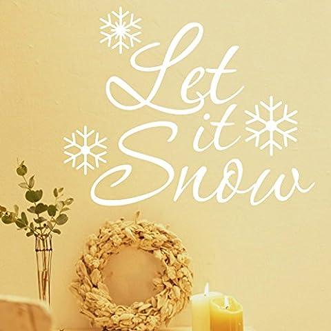 Yanqiao Natale Serie Let It Snow parole fiocco di neve creativo adesivo da parete decorazione per finestra personalità camera da letto decalcomania in vinile decalcomania da parete Casa Decorare e fai da te removibile taglia 58,4x 45,7cm Bianco Bianco