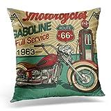 Topyee Funda de cojín Retro Vintage de Gasolina Ruta 66 Classic Motocicletas Moto Biker 45 x 45 cm/18 x 18 Pulgadas Home Decor Throw Funda de Almohada Cuadrada para Cama sofá