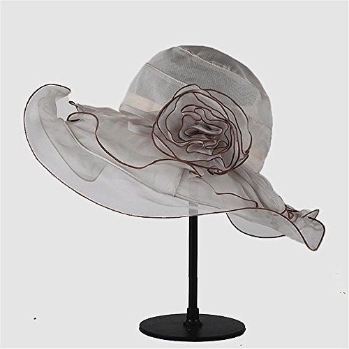 Elegant Damenhut Silk Hut von Sunblock kann in Mulberry Silk Hat gefaltet Werden Stilvoll (Farbe : Grau)